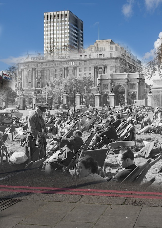 People sunbathing in Hyde Park with Marble Arch and the Odeon cinema in the background. The attendant is selling tickets for the deckchairs which are available for hire in the park. The Odeon which was originally a 'Regal' cinema, opened in 1928. The façade of the building was made from Portland Stone and featured columns and statues however in 1964 it was thought too small and the building was demolished and a larger cinema complex was built in its place.  Please note this image should only be used in the context of press publicity for the Streetmuseum app.
