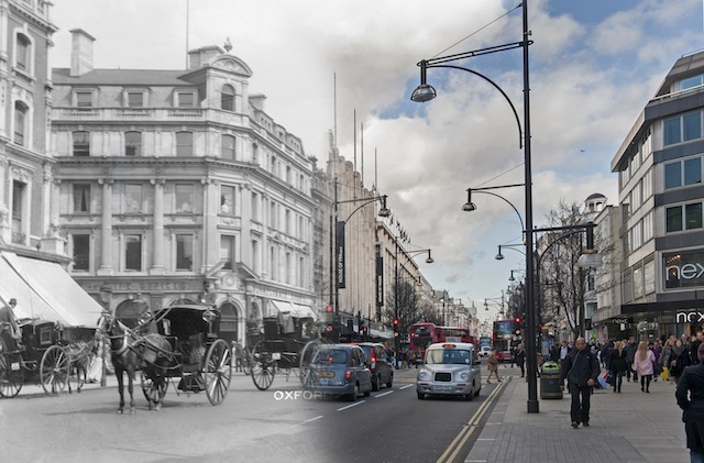 Oxford Street. Horse-drawn Hansom cabs dominate the traffic.  Please note this image should only be used in the context of press publicity for the Streetmuseum app.