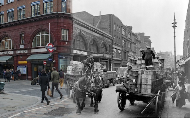 Street scene at Covent Garden with underground station and horse and cart in the background. George Davison Reid photographed activity in the marketplace from opposite Covent Garden Underground station on Long Acre. A police constable was often needed to control the congestion of the horses and carts and increasing numbers of motorised vehicles. The long established market place was under pressure to move. The congested facilities were described at the time as 'altogether inadequate to the necessities of the trade'. However, the fruit and vegetable market did not relocate until 1973.