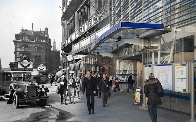 George Davison Reid took this photo of Blackfriars station entrance from outside 179 Queen Victoria Street. The station was originally called St Paul's and was opened by the London, Chatham and Dover Railway in 1886. Above the station were the premises of Oppenheimer Son and Co Limited, which manufactured pharmaceutical specialities. The Times newspaper was also based here in Queen Victoria Street. A decade or so after Reid photographed this exterior, the station was bombed in the Blitz of 1940 and largely destroyed. The offices of The Times newspaper were also hit.   Please note this image must only be used in the context of press publicity for the Streetmuseum app.