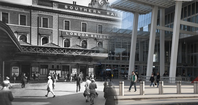 A view of the forecourt of the Southern Railway's terminus at London Bridge. This was the oldest railway terminus in London, having been built for the line linking London and Greenwich in 1836. The double-decker bus on the right belongs to the London General Omnibus Company which was, in 1933, to become part of the London Transport System.