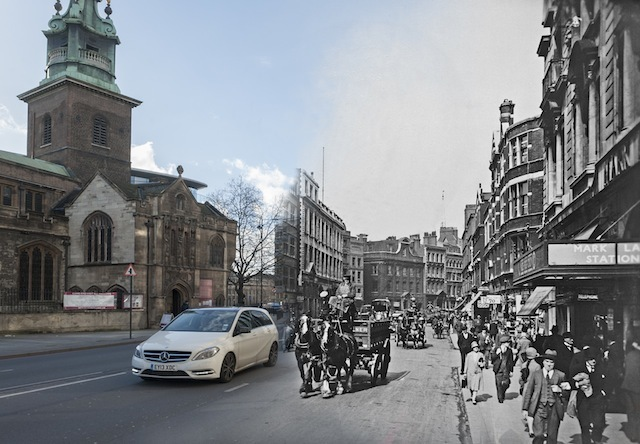 This photograph shows Byward Street near Tower Hill, looking west with the church of All Hallows by the tower on the left and the former Mark Lane Underground station on the right. Reid photographed the streets and buildings of London and the activity in them in the 1920s and 1930s.  Please note this image should only be used in the context of press publicity for the Streetmuseum app.