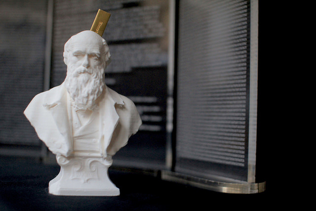 Graeme Smith and Tom Catling: 'Darwin's bust printed from a 3D file, which has been converted from its original binary code, as shown on the left, into a genetic code, as shown on the right. A USB stick embedded within Darwin's head encodes his 3D likeness in a format ready to be stored into DNA.'  © UCL, Institute of Making/Robert Eagle