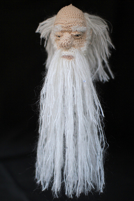 """Christina Amati: 'A pensive, fatigued but indefatigable scientist - Darwin - pictured as a floating head of wisdom and inquiry, with long beard studded with sparks of insight into the natural world. This project explores an alternative method of additive manufacturing by """"filament deposition"""" where the filament is yarn and the technique is traditional crochet used untraditionally for geometry rendering.' © UCL, Institute of Making/Robert Eagle"""