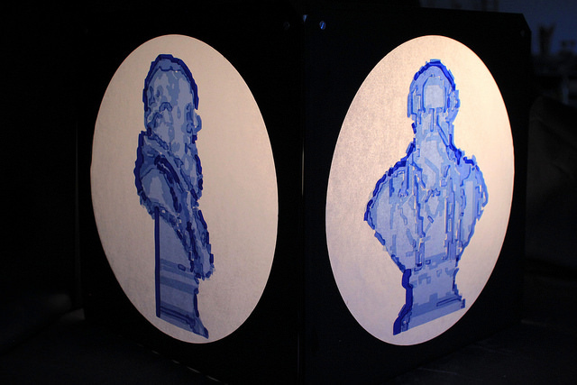 Jo Howcroft: 'Theatrical lighting filter, paired with the right lighting instrument, can help to tell a story and sway your emotions. To reimagine Darwin's bust I have used a range of filters, which correct tungsten light to daylight. The shades were layered up to construct the light and shade from the scan.' © UCL, Institute of Making/Robert Eagle