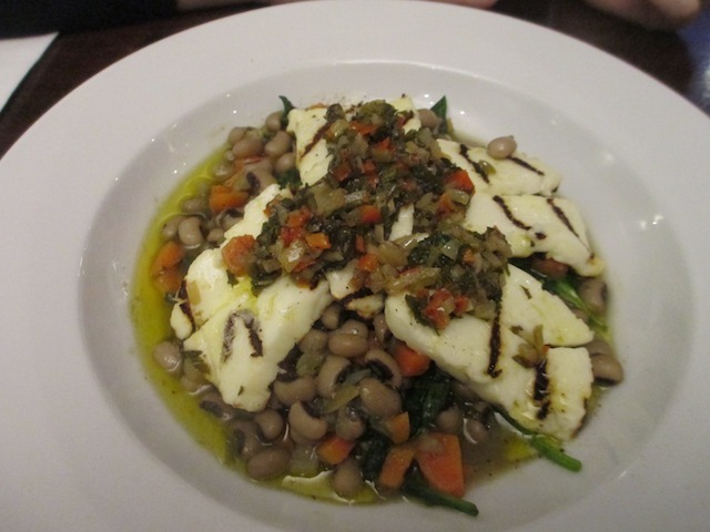 Black eye beans and spinach with grilled halloumi. £10.50.