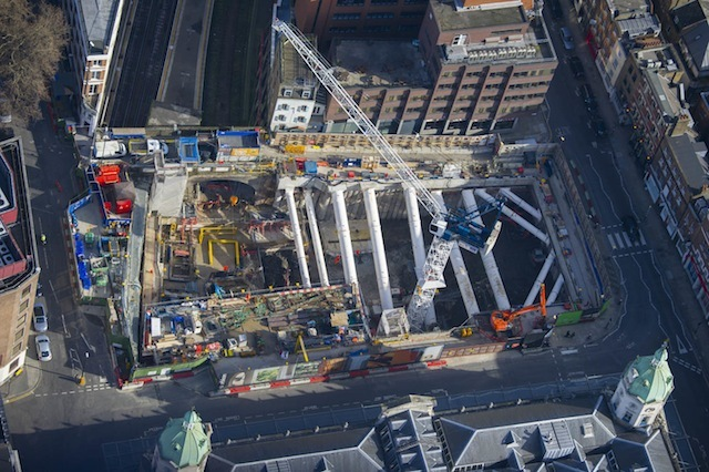Aerial view of the Crossrail development in Farringdon opposite Smithfield Market.