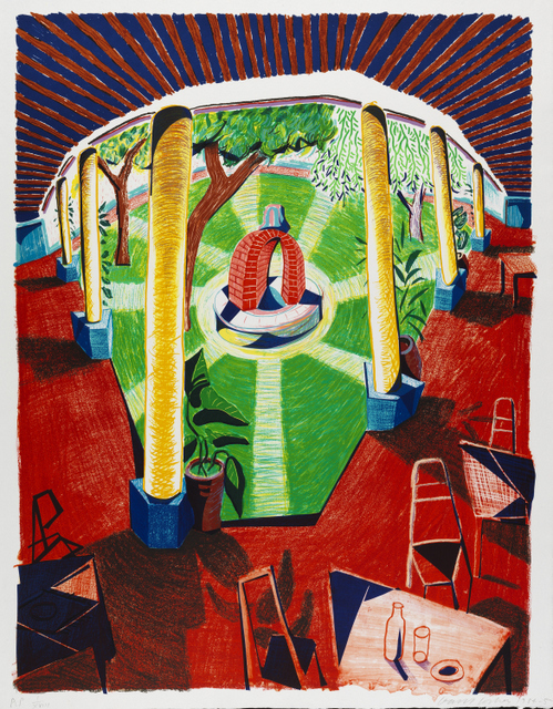 """VIEWS OF HOTEL WELL III"" 1984-85LITHOGRAPH48 1/2 X 38 1/2""A.P. I/XVIII© DAVID HOCKNEY/TYLER GRAPHICS LTD.  COLLECTION THE DAVID HOCKNEY FOUNDATION  PHOTO CREDIT: RICHARD SCHMIDT"