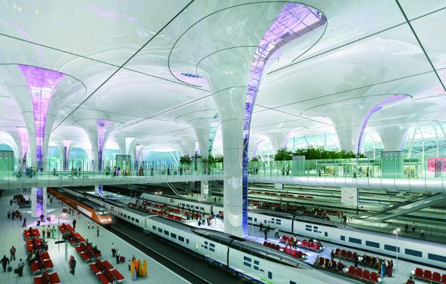 Rendering for Delhi Station (unbuilt), Terry Farrell Partners (Image courtesy of RIBA)