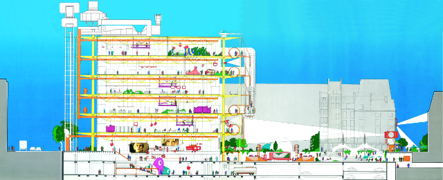 Section through the Pompidou Centre, Drawing by Renzo Piano and Richard Rogers (Image courtesy Rogers,Stirk Harbour + Partners and RIBA)