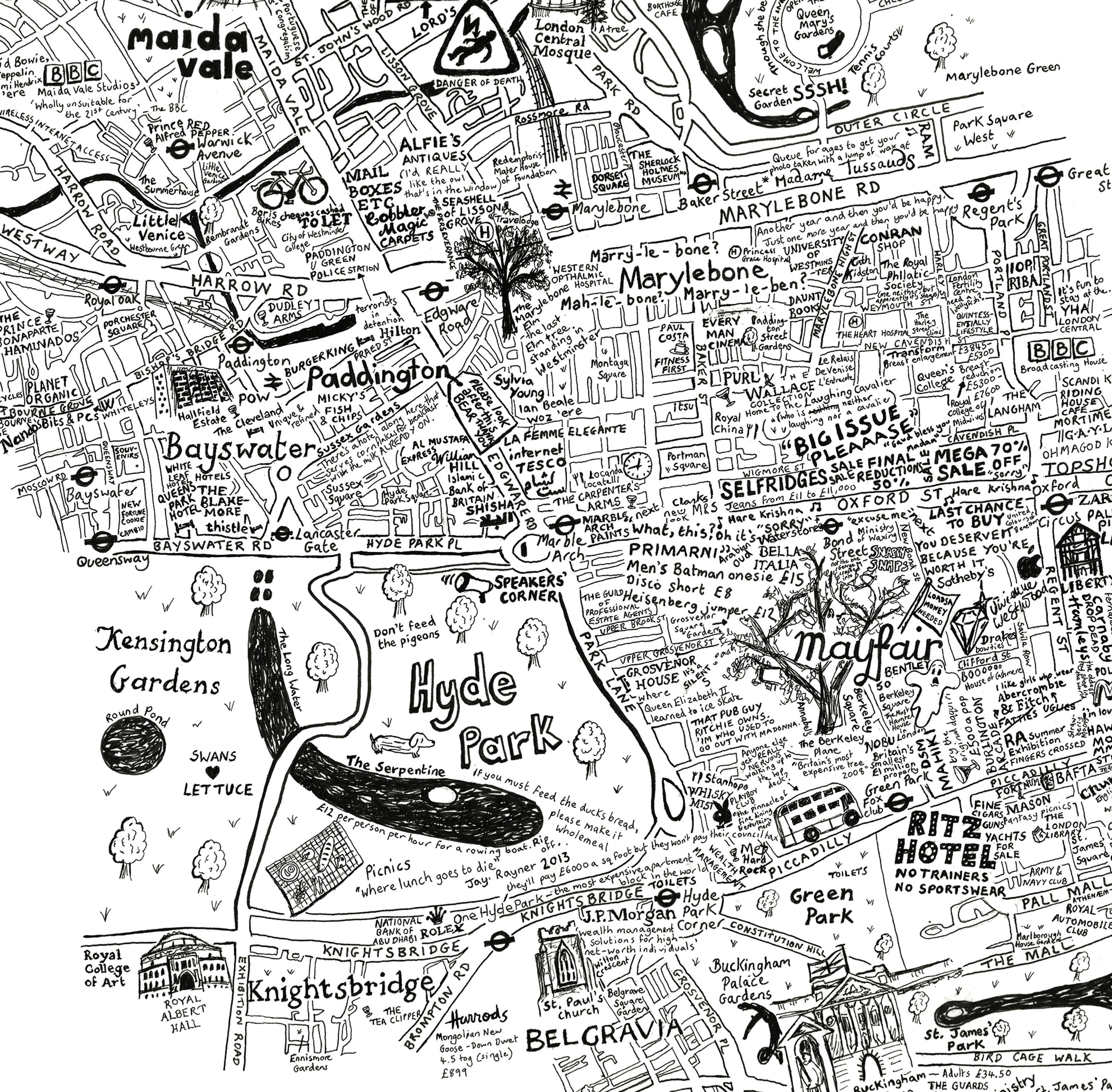 Beautiful Hand-Drawn Map Of Westminster