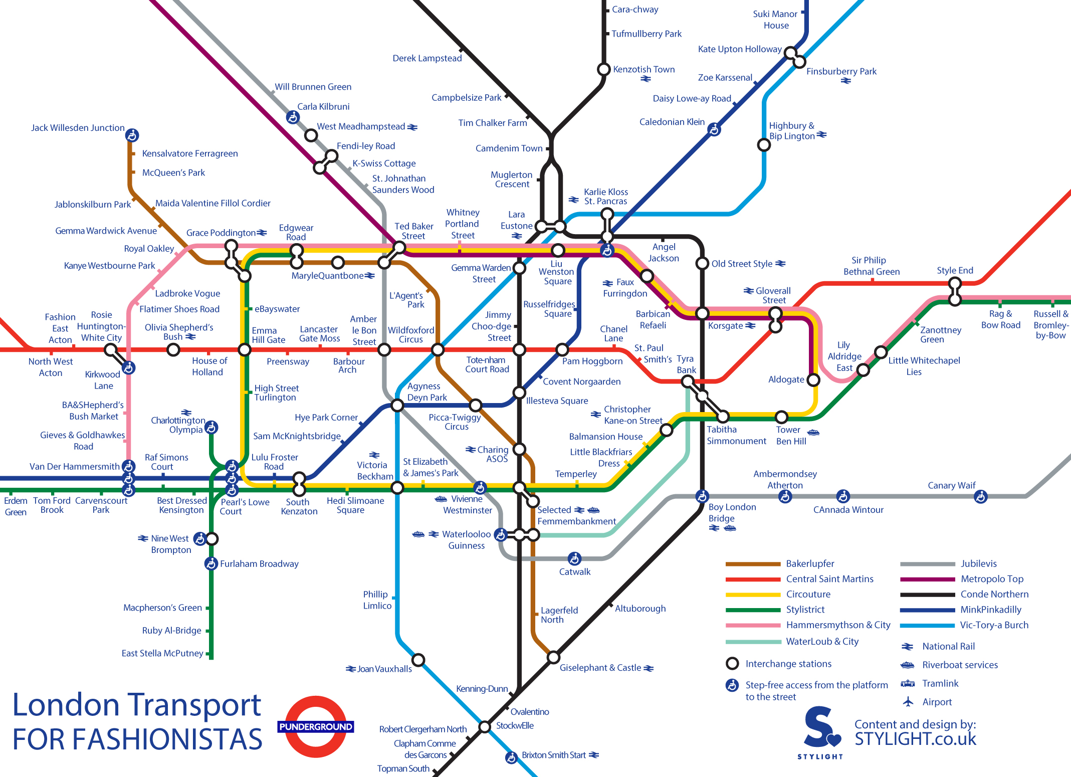 Alternative Tube Maps: Fashion Puns
