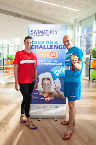 Duncan Goodhew and Karen Pickering hold a swimming masterclass in Lewisham, London.