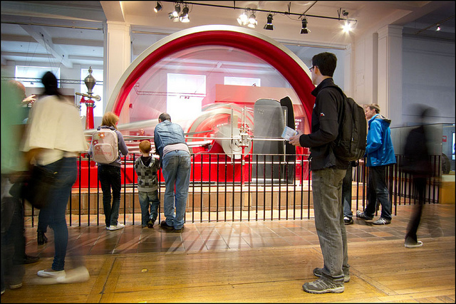 Big red wheel at the Science Museum by World of Tim