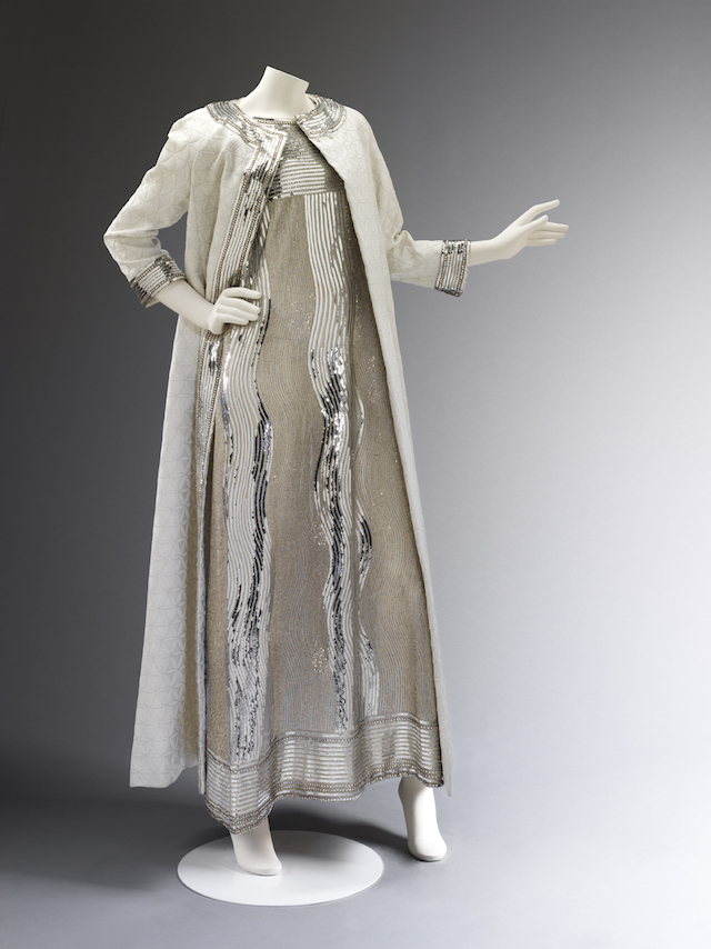 Evening dress of embroidered net and matelasse coat by Mila Schön, 1966. Courtesy Maison Mila Schön. Photo © Victoria and Albert Museum, London.
