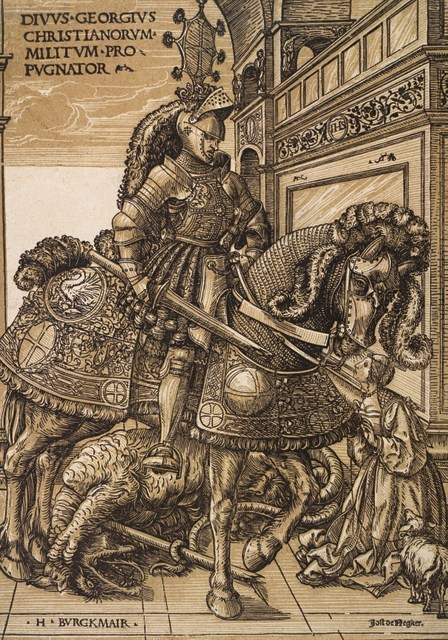 Hans Burgkmair the Elder  St George and the Dragon, c. 1508-10  Chiaroscuro woodcut printed from two blocks, the tone block in beige,   32 x 22.5 cm  Collection Georg Baselitz  Photo Albertina, Vienna