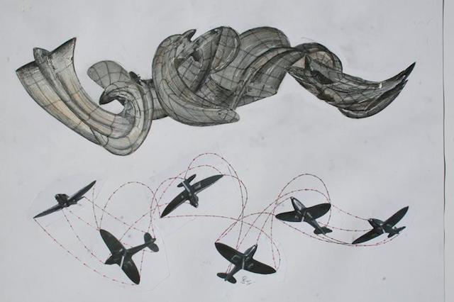 Sketch showing the stunt plane inspiration behind the sculpture.