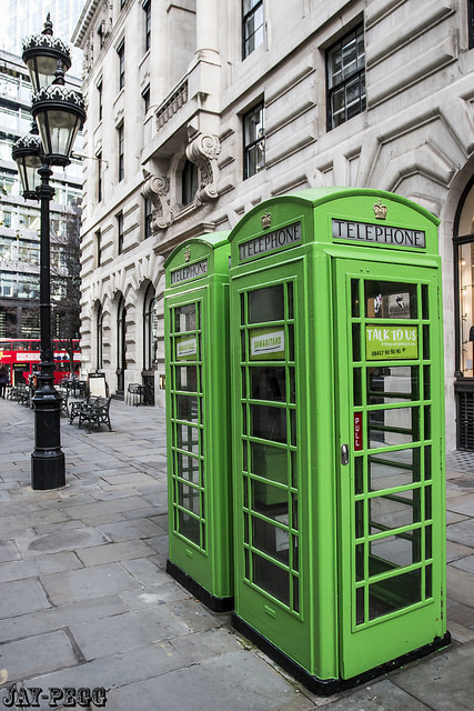 Green phone boxes by Jay on Flickr.