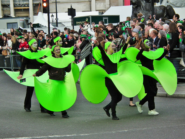 Green petal dancers during St Patrick's Day Parade in Trafalgar Square back in 2012, by Ken on Flickr.