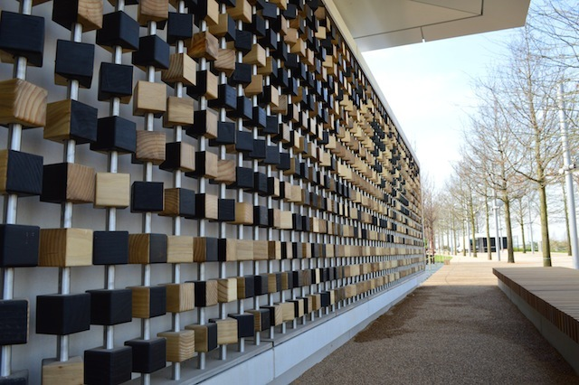 The Podium is the main site for food and drink in the south park. It also contains the Pixel Wall art - a wall of blocks that can be rotated to form patterns...or words.