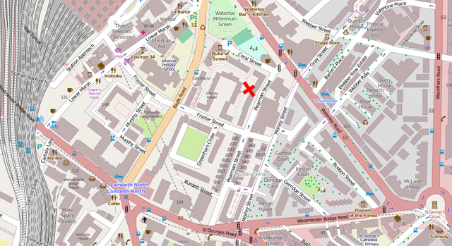 The centre of gravity was found to be a few streets north of Lambeth North station, as recreated here in Open Streetmap.