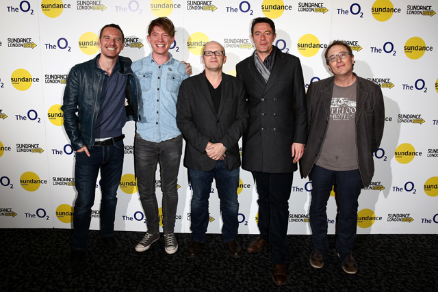 LONDON, ENGLAND - APRIL 25:  (L-R) Actors  Michael Fassbender, Domhnall Gleeson, director Lenny Abrahamson and screenwriters Peter Straughan and Jon Ronson attend the 'Frank' screening during the Sundance London Film and Music Festival 2014 at 02 Arena on April 25, 2014 in London, England.  (Photo by Tim P. Whitby/Getty Images for Sundance) *** Local Caption *** Michael Fassbender; Lenny Abrahamson; Domhnall Gleeson; Jon Ronson; Peter Straughan