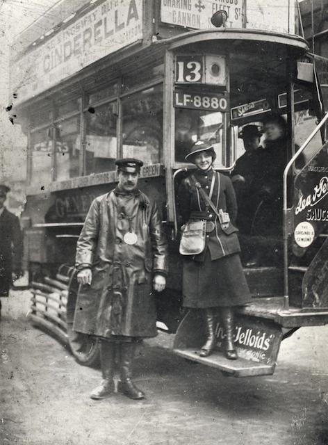 A driver and female conductor photographed during the First World War. Copyright TfL.