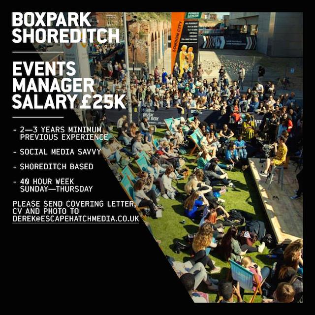 London Job Alert: @BOXPARK Events Manager