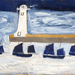 Alfred Wallis, Four Luggers and a Lighthouse, c. 1928, Private Collection, on loan to mima, Middlesbrough Institute of Modern Art