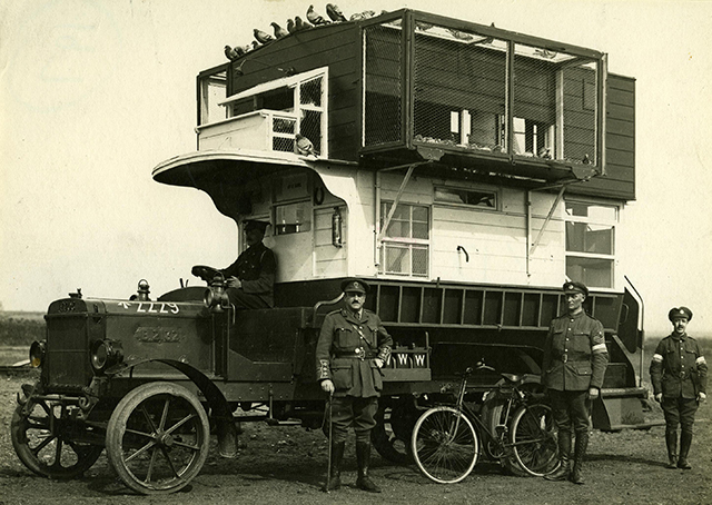 LGOC B-type bus converted into  a pigeon loft. Copyright TfL