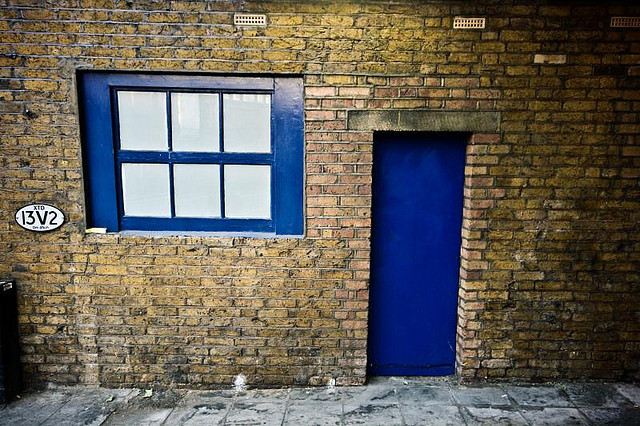 Blue door in the Waterloo area, by Andrew Foster