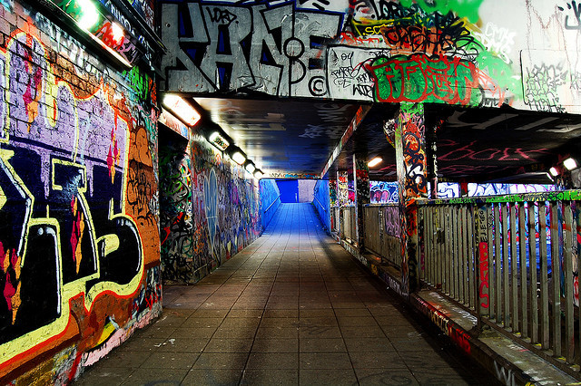 Blue light at the end of Leake Street tunnel, by Edward Perkins