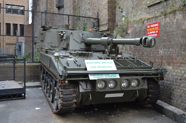 Torrens Street behind Angel tube station holds this 17-tonne surprise. The Abbot gun tank is a promotional vehicle for Tanks-A-Lot, who hire out military vehicles to stag dos, corporates and would-be military dictators. Actually, probably not the last one.