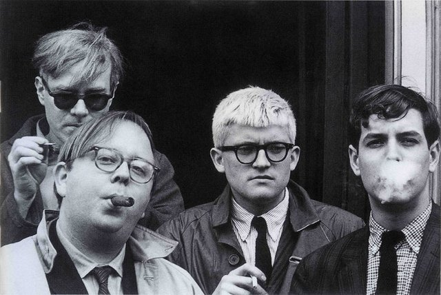 Dennis Hopper Andy Warhol, Henry Geldzahler, David Hockney and Jeff Goodman, 1963 The Hopper Art Trust © Dennis Hopper, courtesy The Hopper Art Trust