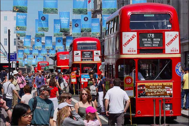 Vintage buses line Regent Street