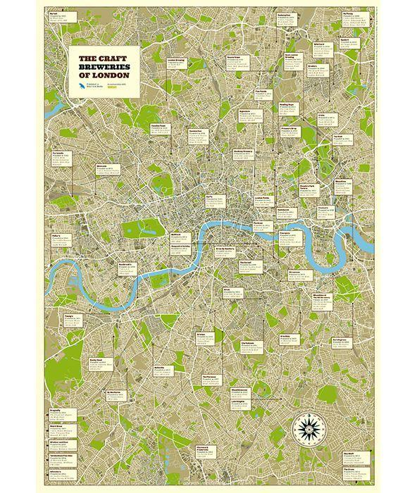 New London Poster Map Of London Breweries