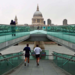 Running along Millennium Bridge, by Kath