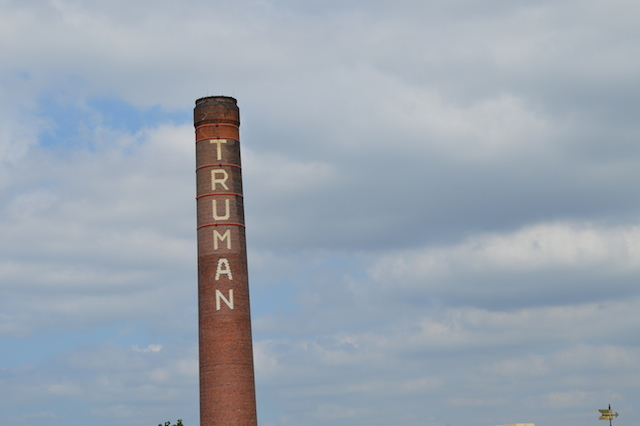 The famous chimney as seen from the old brewery roof. Image by M@.