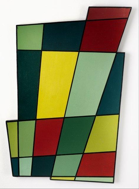 Key. 14  /  Cat. 0    Juan Mele  Irregular Frame No. 2, 1946  Oil on plywood, 71.1 x 50.2 x 2.5 cm  Coleccion Patricia Phelps de Cisneros   c. Estate of Juan Mele