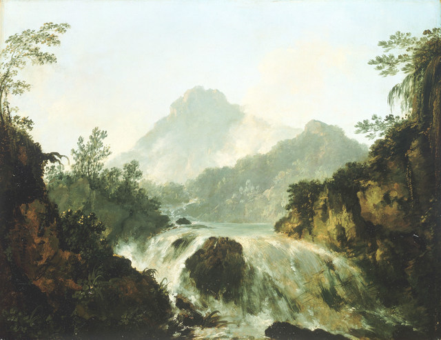 A Cascade in the Tuauru Valley, Tahiti	 by William Hodges, c.1775 Oil on panel National Maritime Museum, London