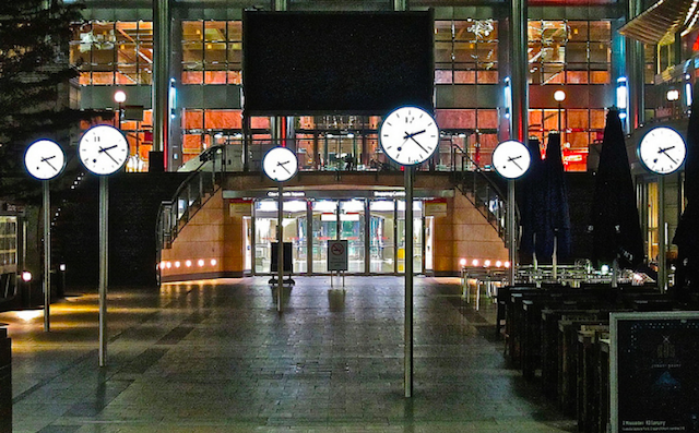 "After a few pints, we reckon these six clocks in Canary Wharf probably get quite confusing. We always imagined they were something to do with the different financial trading centres in various time zones around the world. They're actually an art installation, imaginatively named ""Six Public Clocks"", by Konstantin Grcic, and have been in situ since 1999. The design is based on the iconic Swiss railway clock. On each of the 12 clock faces (each clock is double sided) the hands are in the same position, but each one has a different number on it's face. Another row of clocks, installed by artist Richard Wentworth, can be found nearby on Westferry Road. Dubbed 'Globe', these do show the time in different countries."