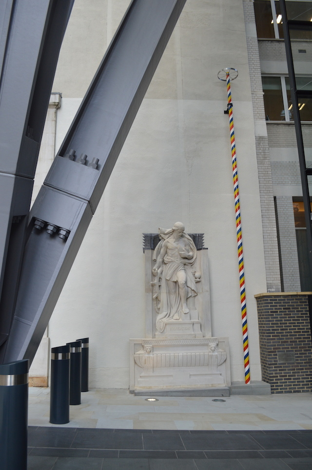 The atrium contains a couple of heritage features: a sculpture of Navigation from the old P&O offices that used to stand on this site; and a replica maypole representing the historic pole that once stood nearby, giving the name St Andrew Undershaft to the nearby church.
