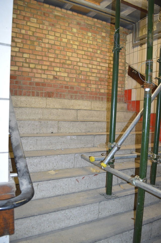 Stairs leading up from the disused loos to the concourse, now bricked off. The steps would have debouched in what is now the main area for ticket machines.