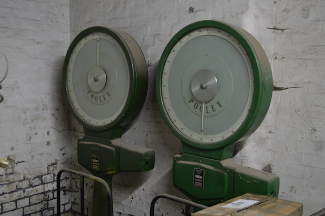 Old parcel weighing machines in the catacombs.