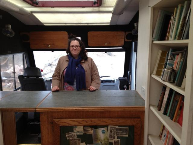 The artist, Verity-Jane Keefe, inside the Mobile Museum's original Library counter (Photo: Verity-Jane Keefe)