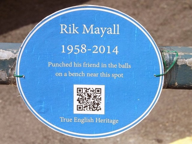 Rik Mayall's Bench Memorial In Hammersmith Unveiled Today