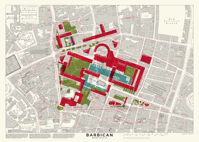 Barbican old and new, superimposed on map.