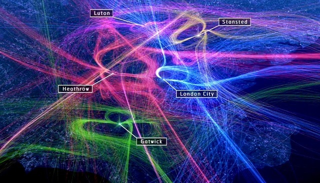 Animation Shows Busy Skies Over London