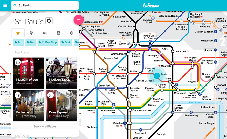 Tubenav: Use The Tube Map To Plan Your Evening