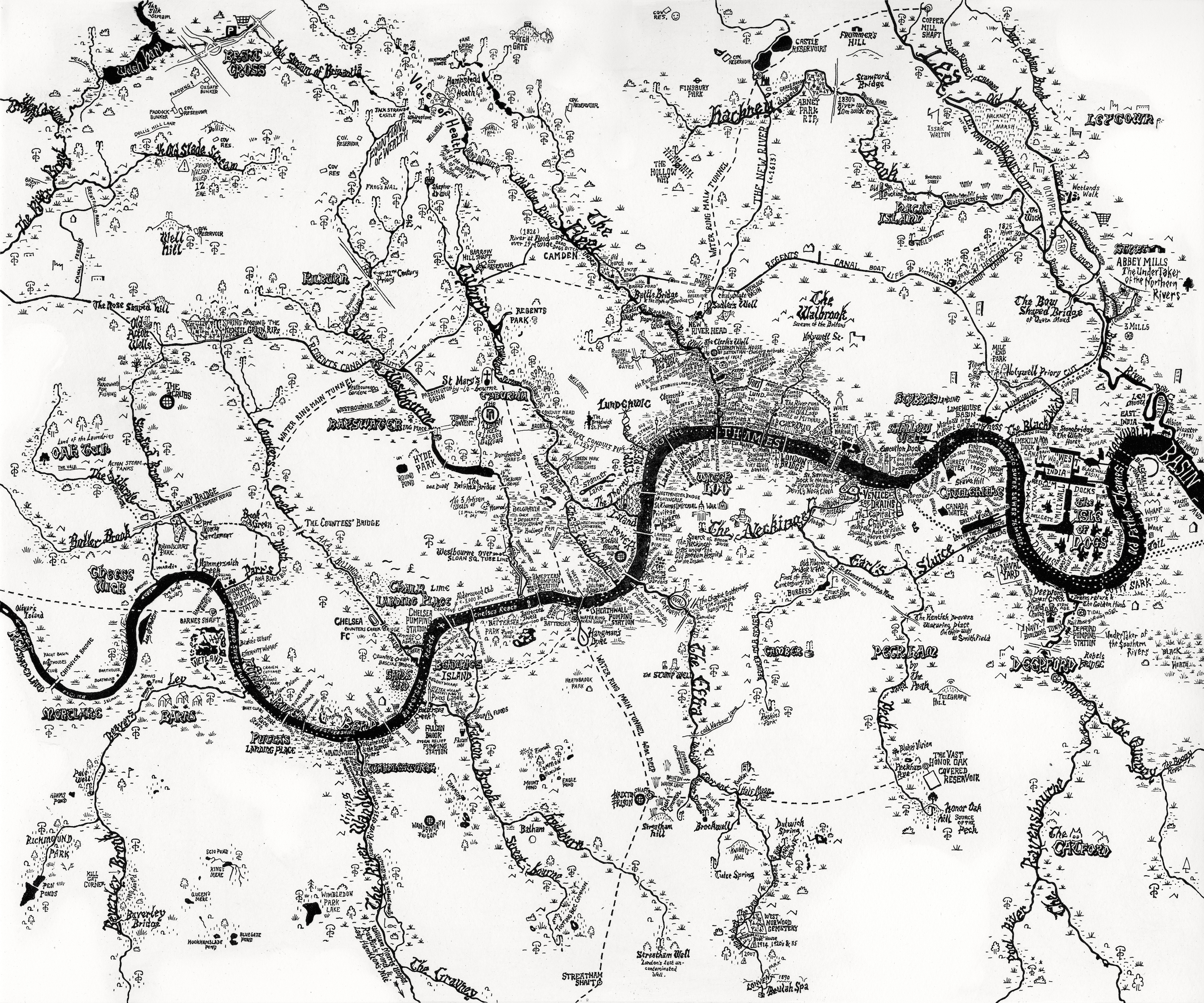 Rivers Of London Amazing HandDrawn Map By Stephen Walter Londonist - Rivers of